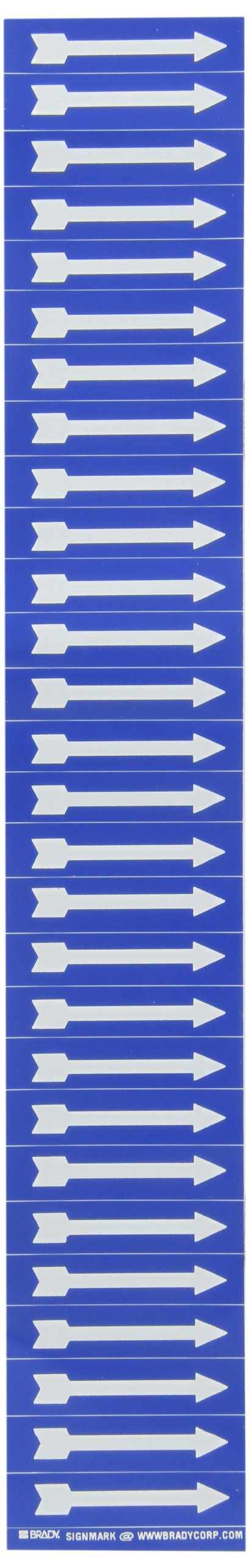"Brady 91886 Semiconductor & Chemical Pipe Markers, B-946, 1/2"" Height X 2 1/4""W, White On Blue Pressure Sensitive Vinyl, Legend ""(Arrow)"""