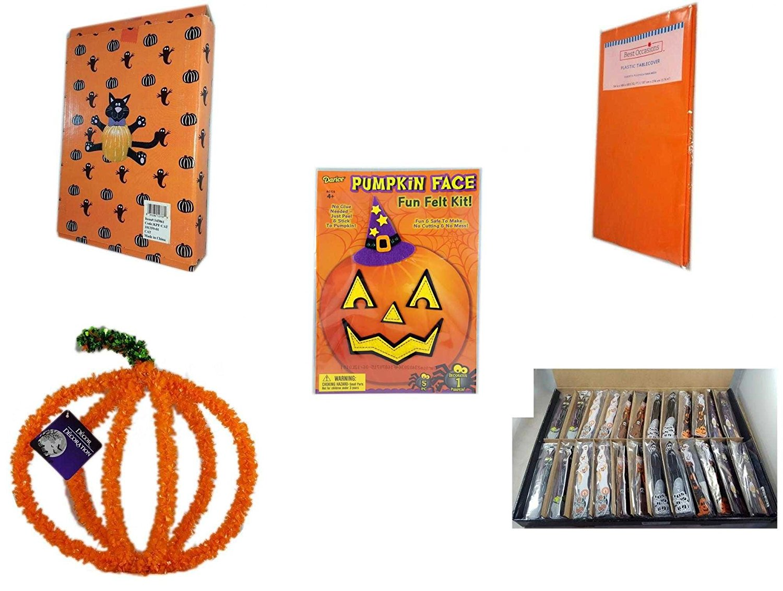 Halloween Fun Gift Bundle [5 piece] - Halloween Cat Pumpkin Push In 5 Piece Head Arms Legs - Bright Pumpkin Orange Plastic Table Cover Halloween - Darice Pumpkin Face Fun Felt Kit - Witch - Hallowee