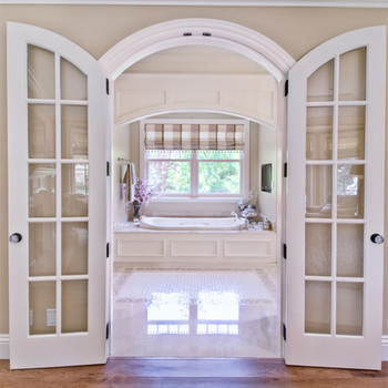 Arched Top Interior Door Best Quality Tempered Glass Insert Wood Door For  Buildings