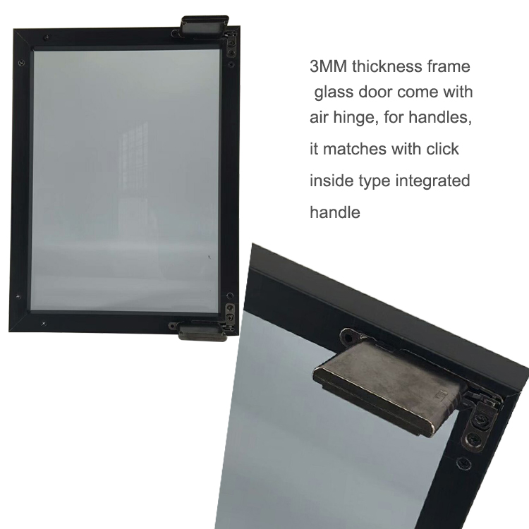 FOSHAN Glass Front extruded square aluminum cabinet door frame with integrated handle