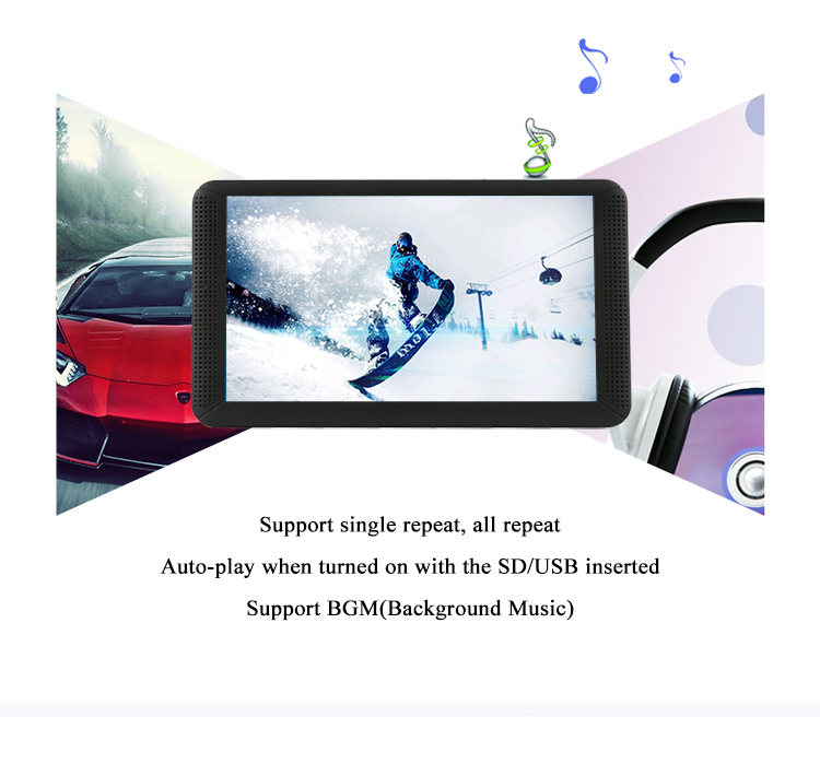 Portable TV screen with usb sd card slot 7 inches tft lcd advertising player/ media player