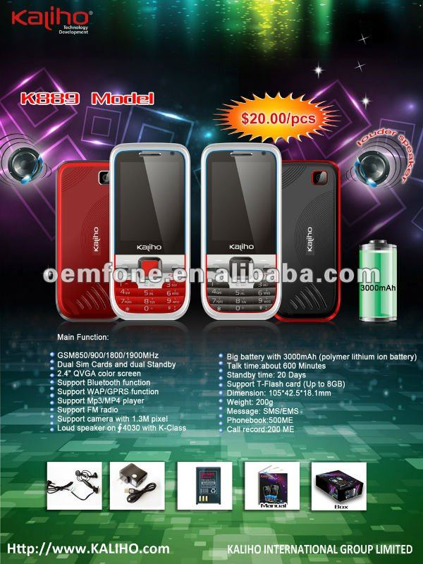 Super New Big Battery with Loud Speaker mobile phone with loud sound K889