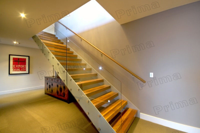 Wooden U Shaped Stair Double Stringer Stairs Indoor Wood