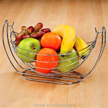 Chrome Metal Wire Swinging Decor Gift Oranges Apple Fruit And