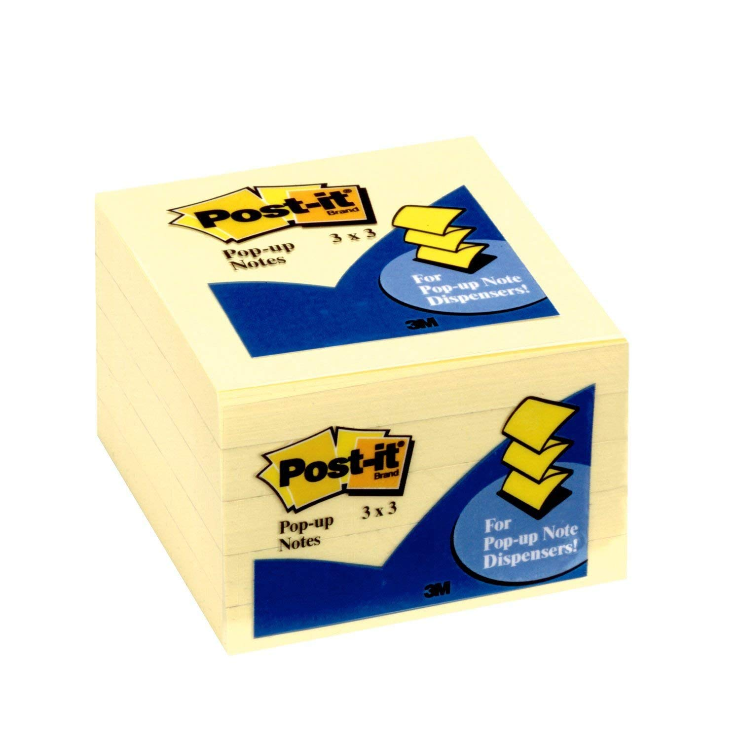 Post-it Notes Pop-up, America's #1 Favorite Sticky Note, 3 Inches x 3 Inches, Canary Yellow, 90 Sheets per Pad, 5 Pads per Case (3301-5YW)