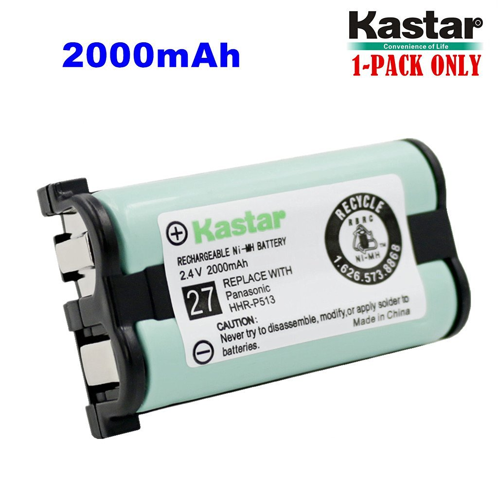 Kastar HHR-P513 Battery (1-Pack), Type 27, NI-MH Rechargeable Cordless Telephone Battery 2.4V 2000mAh, Replacement for Panasonic HHR-P513 HHR-P513A HHR-P513A1B HRR-P513A1B KX-TG2208 KX-TG2208B KX-TG2208W KX-TG2214 KX-TG2214B KX-TG2214S KX-TG2214W KX-TG2216 KX-TG2216FV KX-TG2216RV KX-TG2216SV