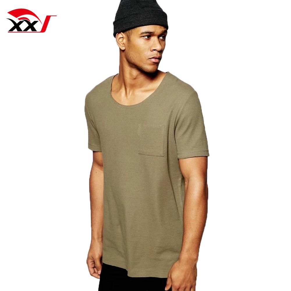 Longline plain t shirt wide neck men stylish blank t-shirt with scoop back hem and pocket in khaki fashion shirt 2019 фото