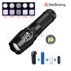 Amazon hot sale best zoomable XM-L T6 18650 tactical led flashlight torch