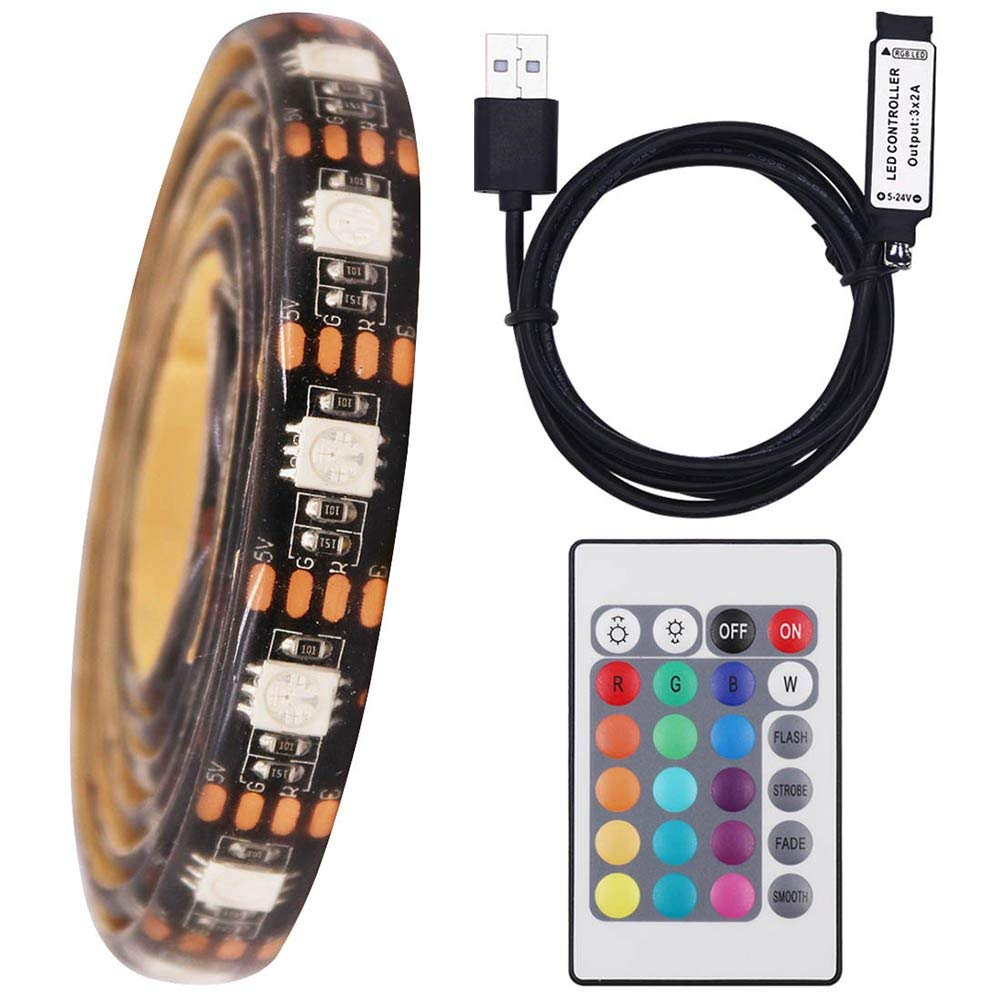 XUNATA LED Strip Lights 16.4ft for 40-60in TV, Waterproof USB Powered LED TV Backlight Kit with 24 Key Remote Control, RGB 5050 LEDs Bias Lighting for HDTV
