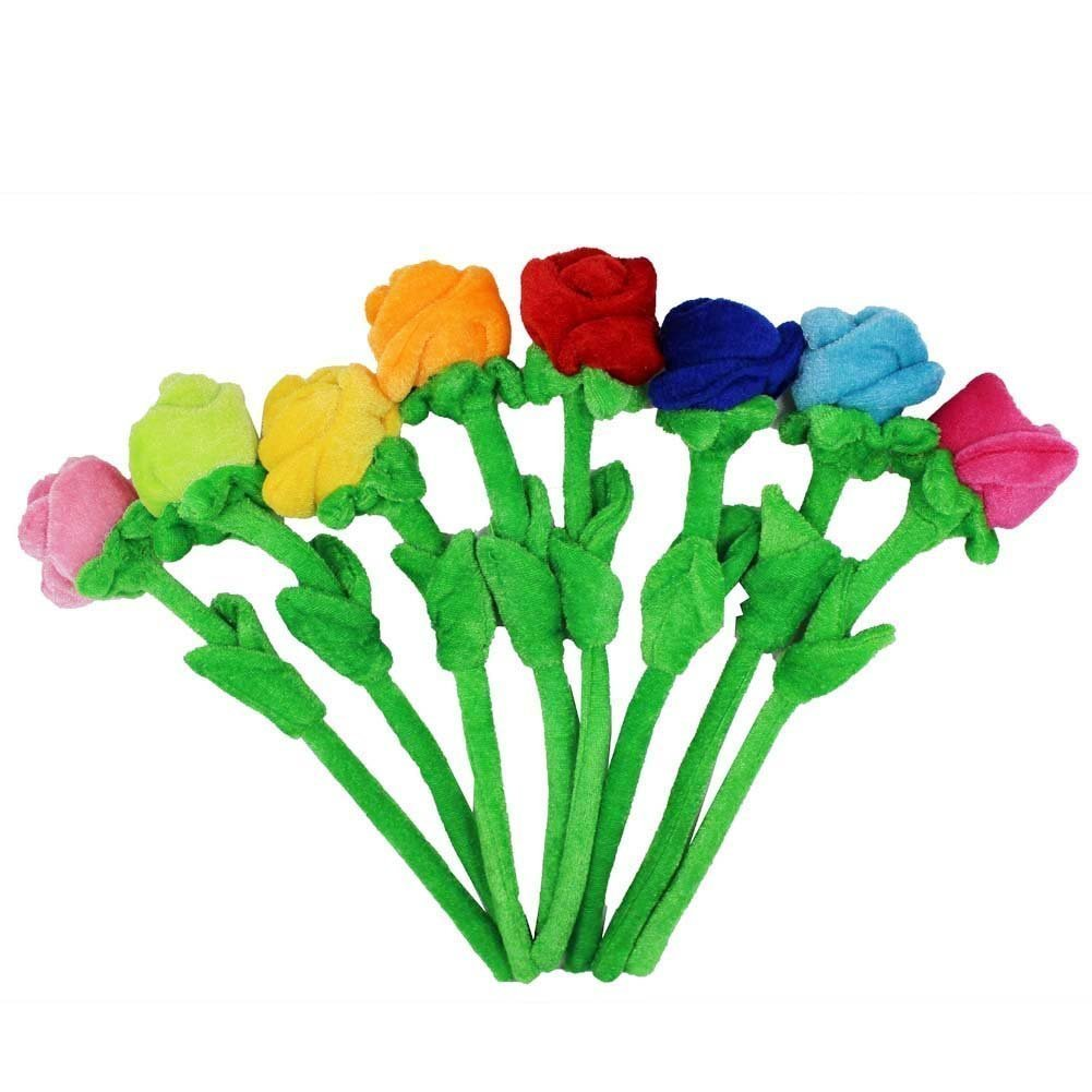 """Tplay Rose Plush Flower Colorful Soft Stuffed Flowers Toy With Bendable Stems For Kids Gift Decoration 12"""" Set Of 8"""