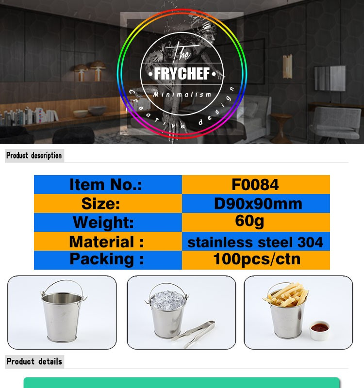 Custom Food Pail 90x90mm Stainless Steel 18/8 F0084