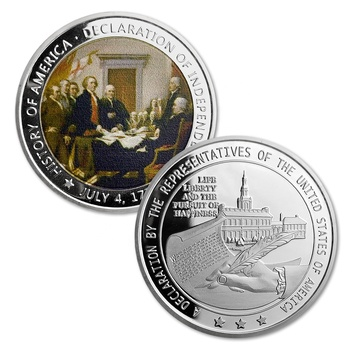 Unique Design 1776 History of American Declaration of Independence Silver Color Gift Commemorative Souvenir Coin