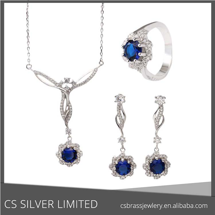natural white Flower Cubic Zirconia Necklace Earring and Ring Fashion Jewelry Set E-2828