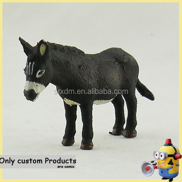 realistic dunkey zoo plastic animal figure toy,custom 3d mini plastic zoo animal toys for kid,custom 3d pvc animal toys maker