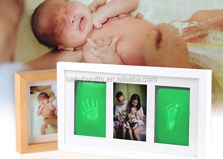 hot sale baby clay frame handprint and footprint frame package touch ink pad