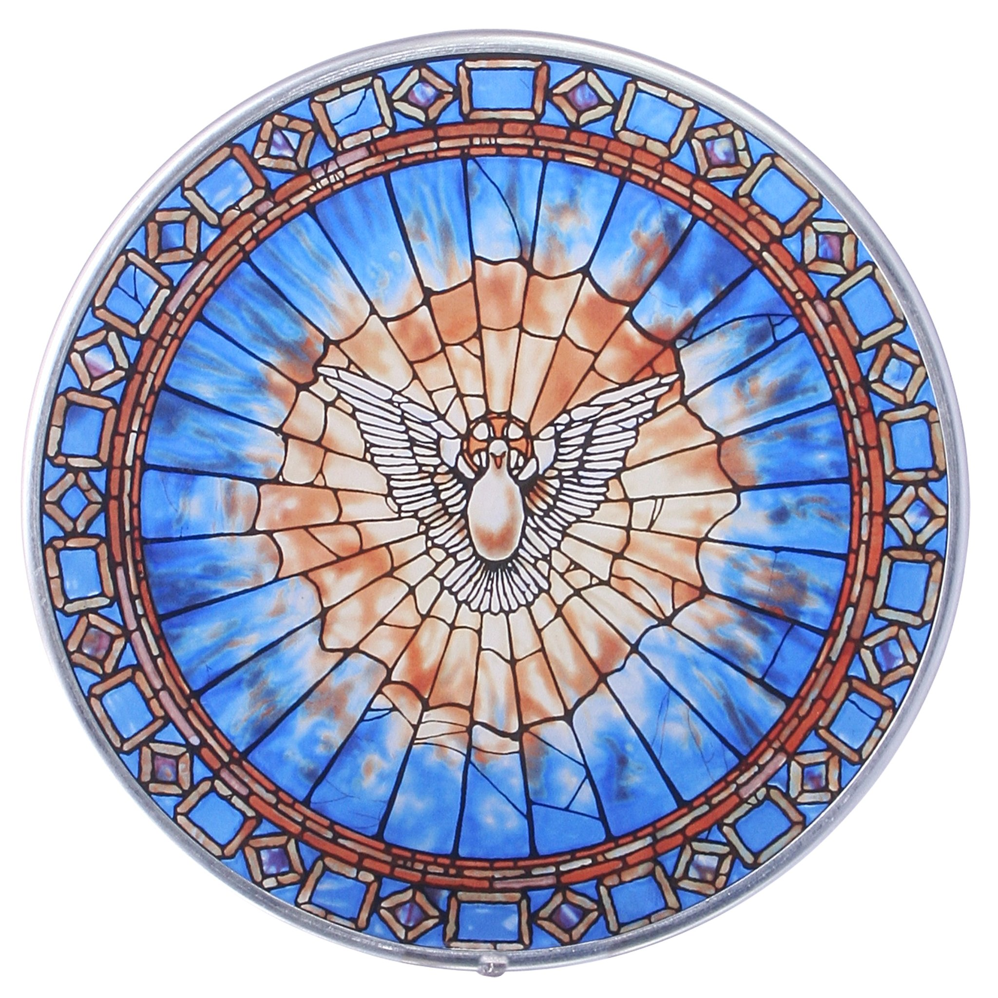 Stained Glass Panel - The Holy Spirit Round Stained Glass Window Hangings - Art Glass Window Treatments