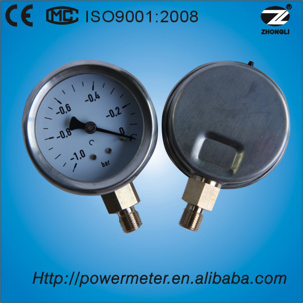 CE approved dial 60mm stainless steel cheap low pressure gauge for gas