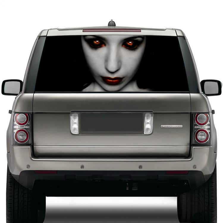 new launch car high beam devil sticker car rear windshield window tinting film see through camouflage vinyl wrap