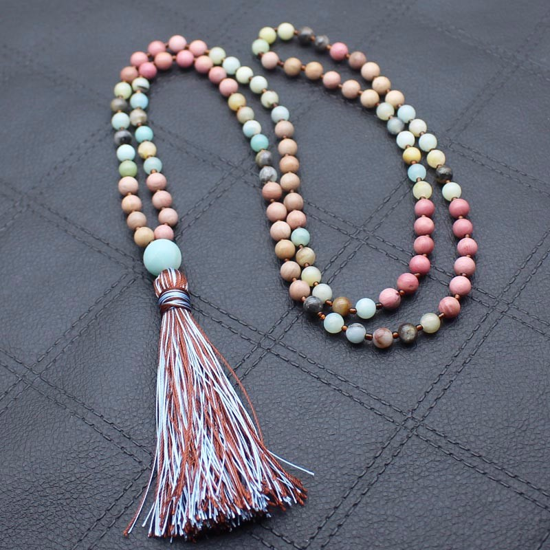 Fashion Jewelry Mixed Natural Stone Long Tassel Necklace