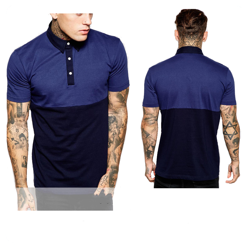 wholesale new design polo shirts for man dark blue with black man polo shirts 100% cotton custom polo shirts