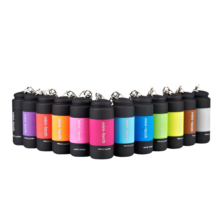 Amazon Venta caliente luz regalo de carga MINI USB LED llavero linterna 50LM USB recargable Pequeño bolsillo linterna LED linterna