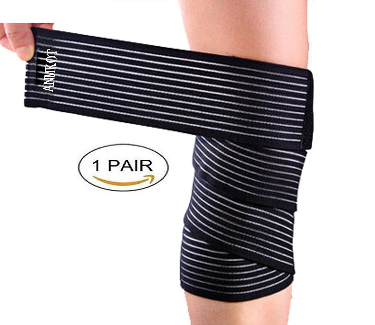 7918fb5374 Get Quotations · ANMKOT 2PCS Black Elastic Breathable Knee Pain Relief  Straps Support Wraps Gym Squat Lifting Knee Brace