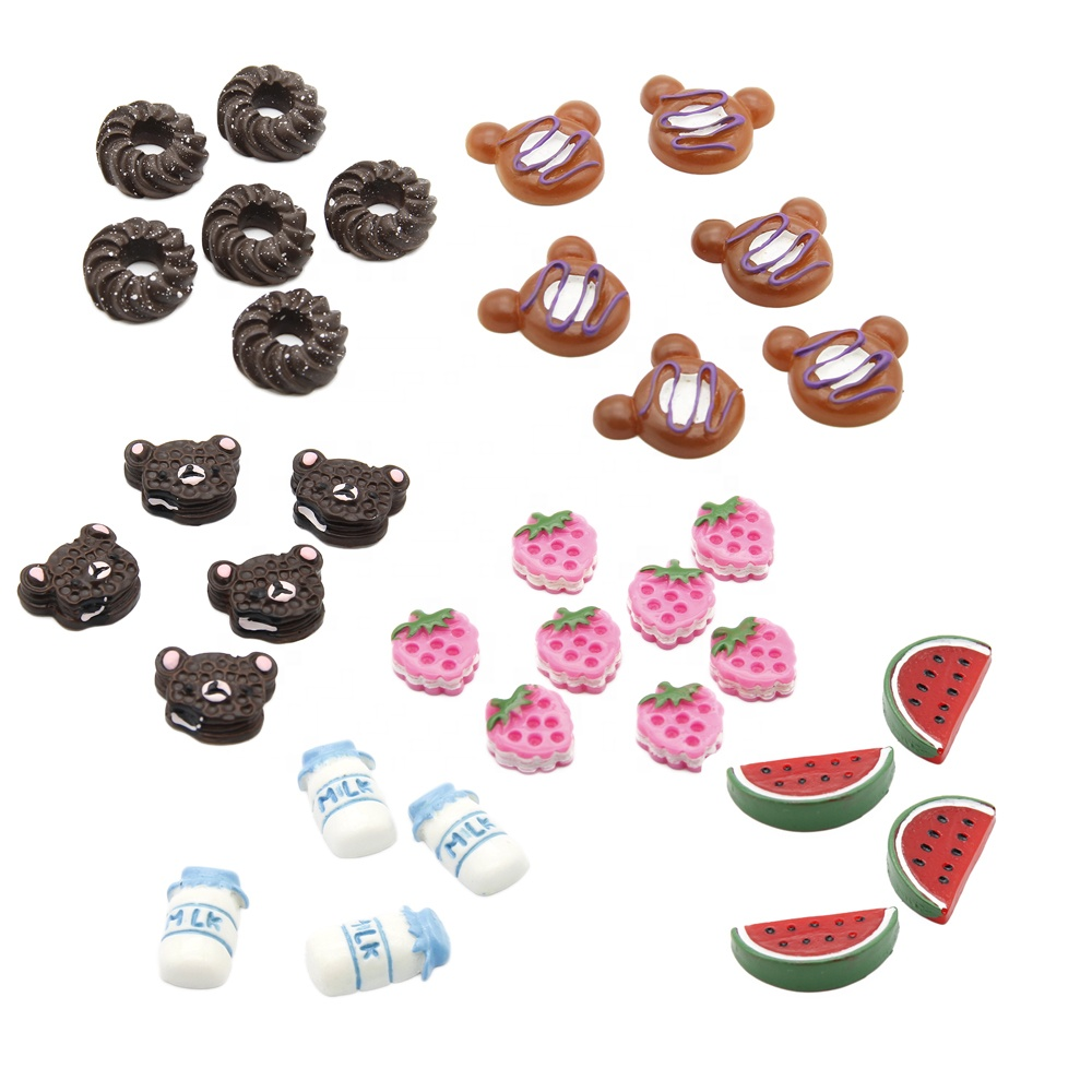 Donut Milk Fruit 3D Flatback Cabochons Planar <strong>Resins</strong> For Phone Cover Deorate 72208