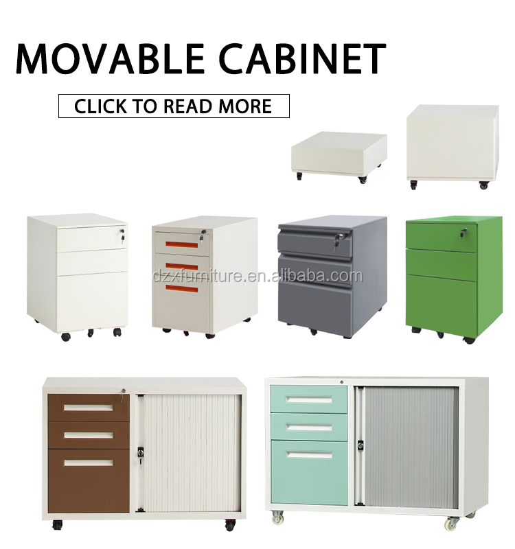 Hot sale metal 3 drawer mobile filing cabinet with half circle steel mobile pedestal