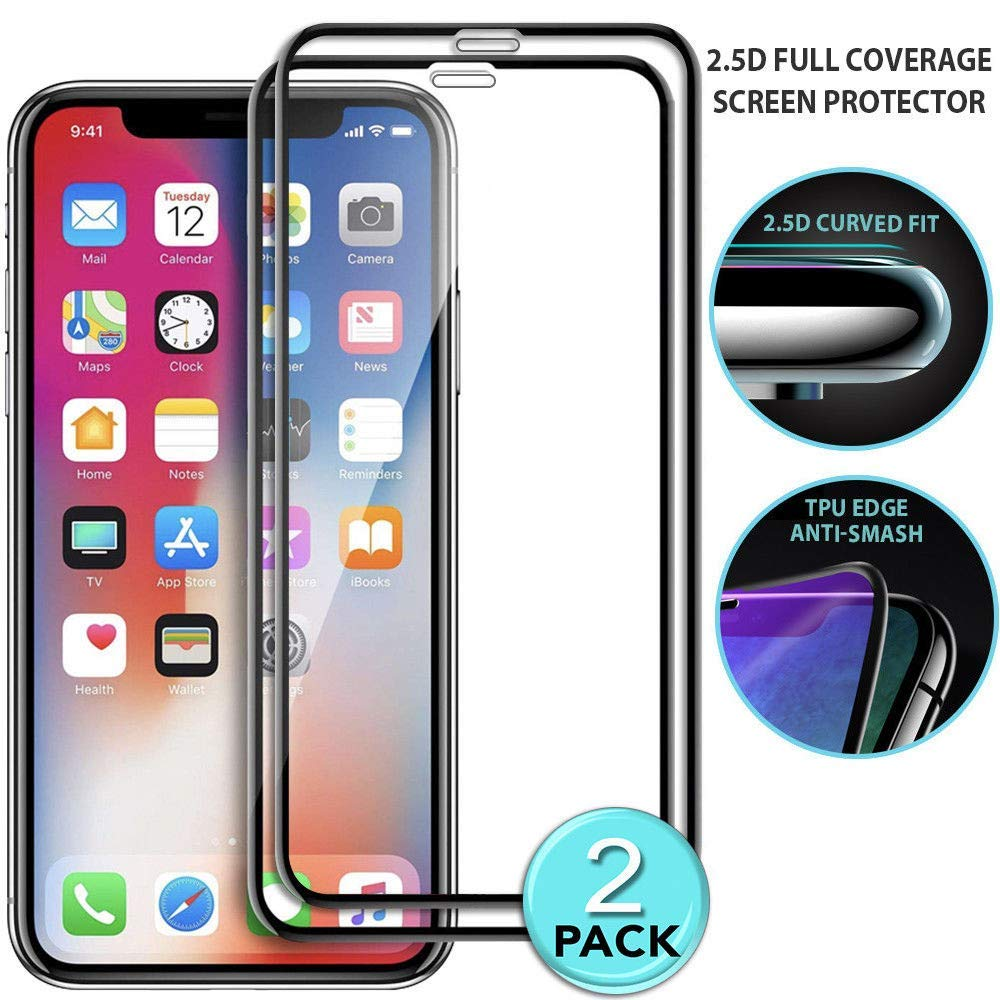 for iPhone XS/XS Max/XR Screen Protector - 2 Pack Premium 9H Hardness 2.5D Full Coverage Tempered Glass Ultra Slim Screen Protector HD Clear Film for iPhone XS/XS Max/XR (XR 6.1inch)