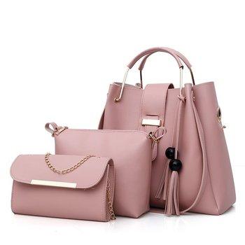 f0517a8065 LYW073 Good Quality Low MOQ Bulk Woman Leather Bag 3 Pieces in One Woman  Handbag Set