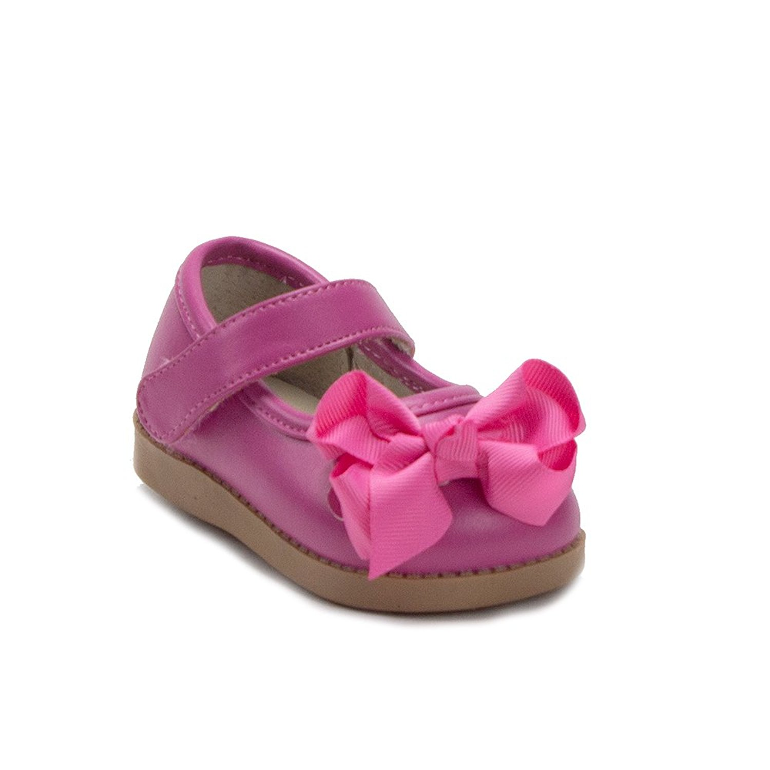 487a5b53ec70 Get Quotations · Mooshu Trainers Toddler Girls Princess Bow Mary Jane  Squeaker Flats Shoes
