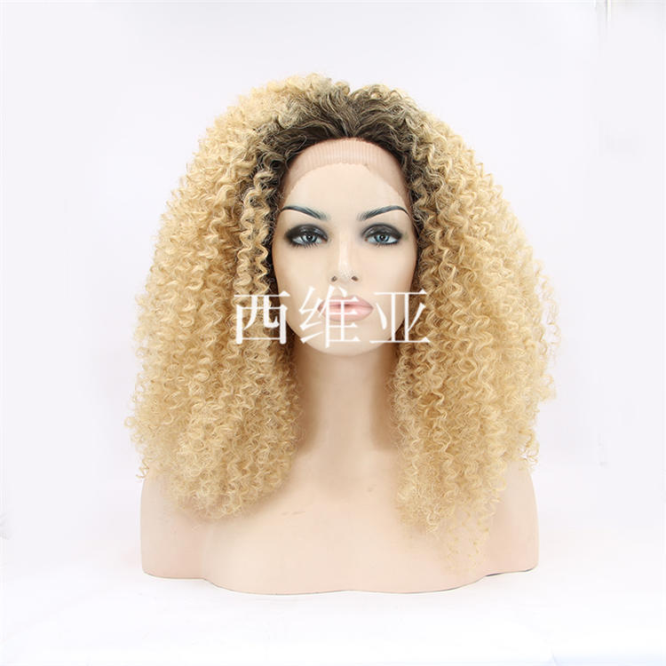 Hot selling fashion ombre blonde wig short kinky curly wig synthetic lace front wig heat resistant