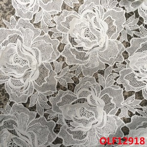 CRF12918 poly 3D fabric lace white bridal 3D lace fabric