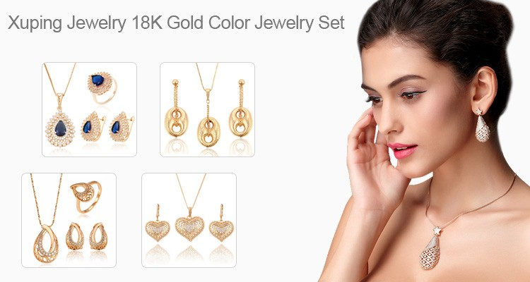 64531 Xuping China wholesale beautiful flower shape 18k gold filled jewelry set Zirconia jewelry
