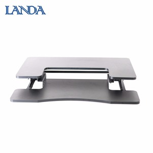 Height adjustable office executive desk with stainless steel legs