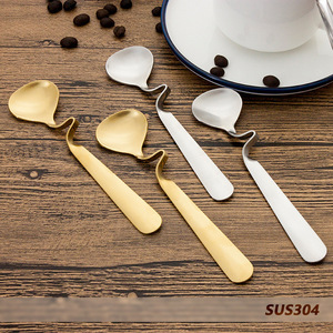Wholesale 304 Stainless steel Curved Coffee Sugar Spoon