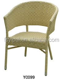 POP furniture Aluminum frame PE rattan bamboo chair