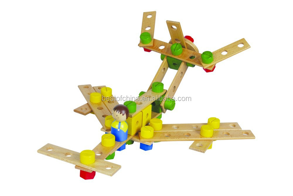 Best Selling Wooden Toys Large Construction Kits 92Pcs