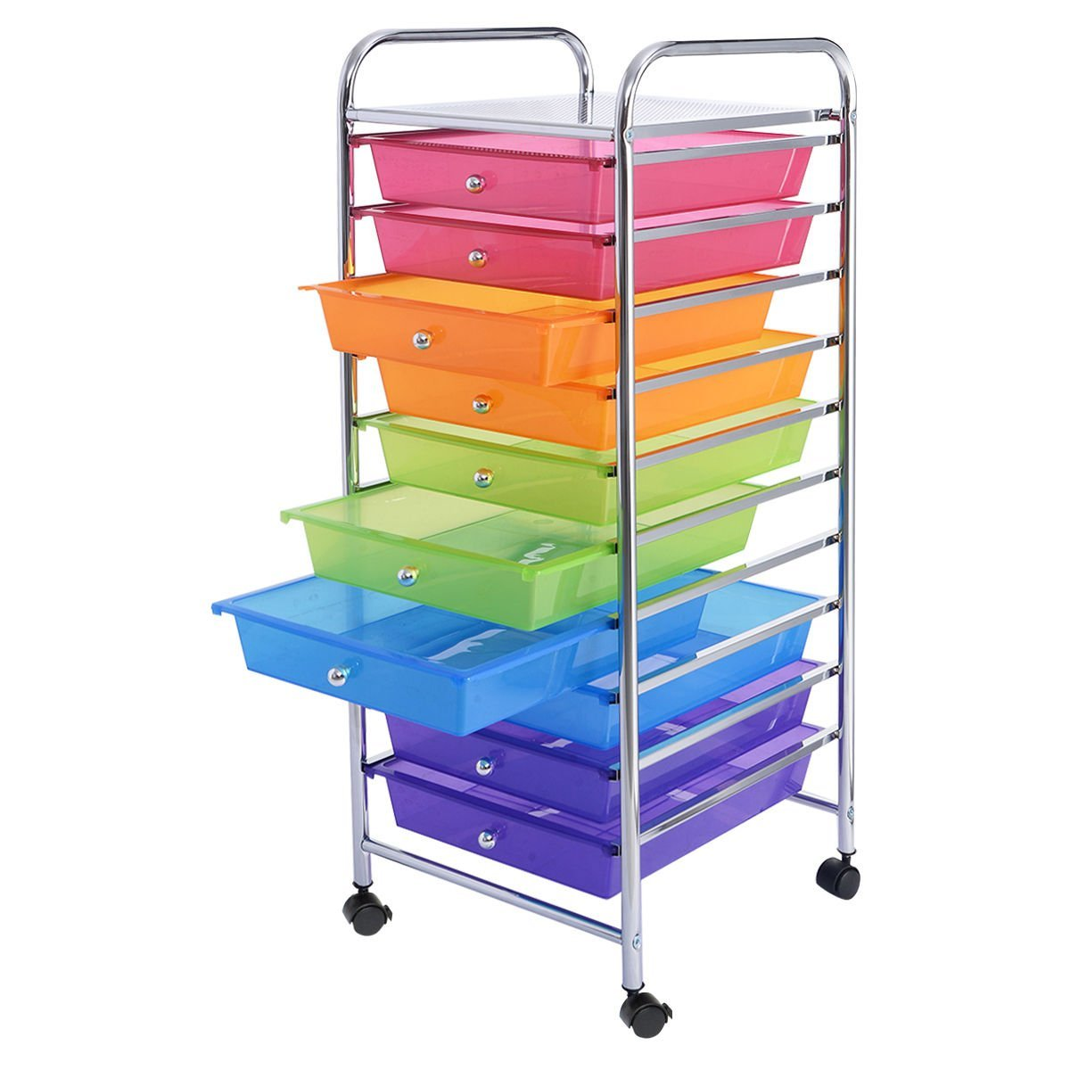 Buy Chrome 10 Drawer Rolling Scrapbook Cart Storage Paper Organizer