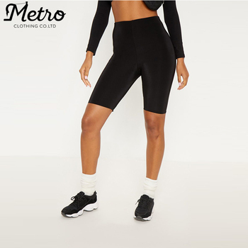 custom women activewear black compression fitness running biker shorts