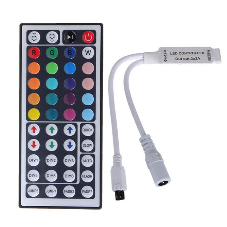 Welsun 44 Keys Mini IR RGB Remote Controller For SMD3528/5050/3014 RGB LED Strip Lights Mini Controller DC12V(1PCS)