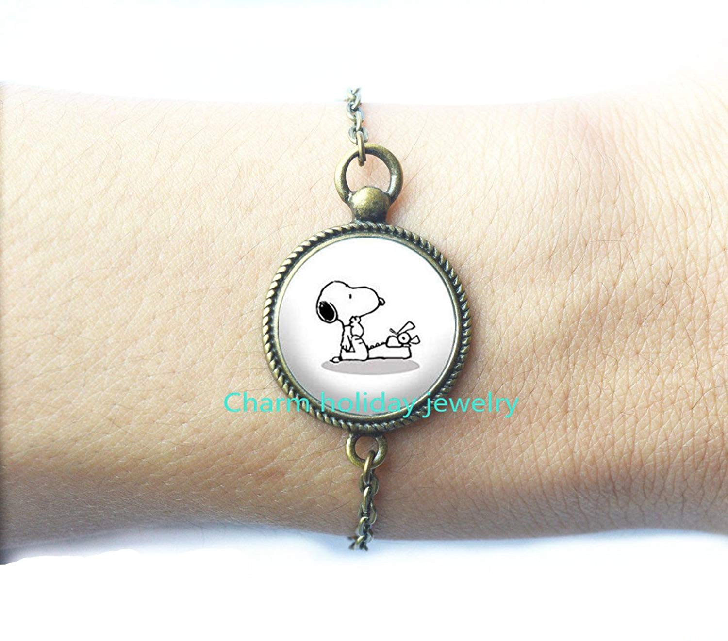 Typing Dog -Dog Bracelet -Dog - Typewriter - Writing Bracelet - Jewelry for Writers,Jewelry for Writers Writing Jewelry,Charm Bracelet.D0114
