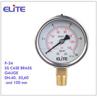 P-34 stainless steel case and brass internlas pressure gauge manufacture from China