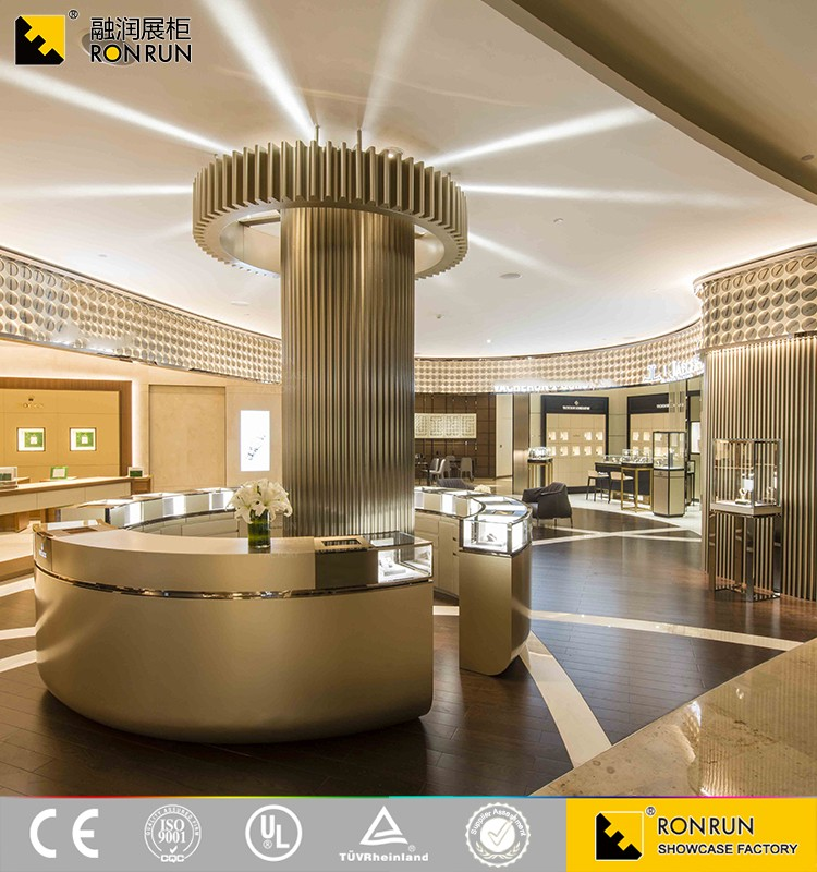 Hot selling Luxury Style Glass Wooden Furniture Jewellery Shop Showcase Design for Shopping Mall