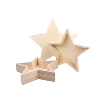 Custom vintage burning color star shaped wood gift box