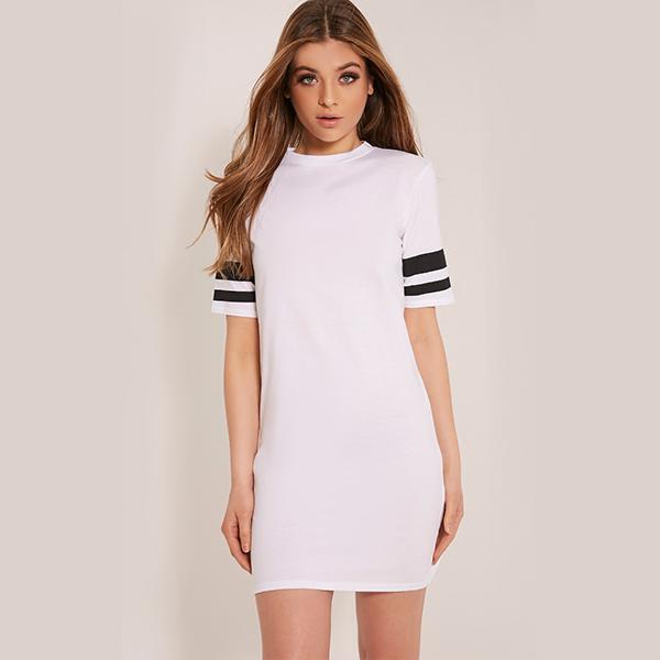 c7a7ab008 أسلوب جديد لباس المرأة عارضة أزياء بسيطة ر الملابس-- قميص اللباس ميدي