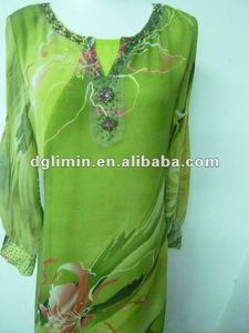 floral printing design chiffon abaya green baju abaya long dress baju with lining