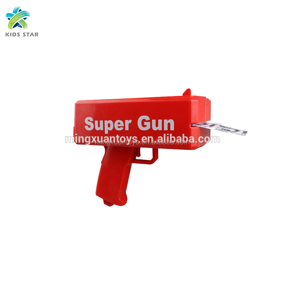 Hot sell plastic battery operated super money gun with money detector cash cannoon toys cash gun toys for celebration