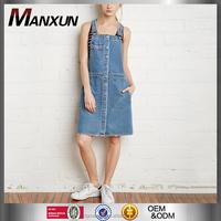 2016 New Season Young Girls Buttoned Denim Overall Dress Modern Designs Apparel