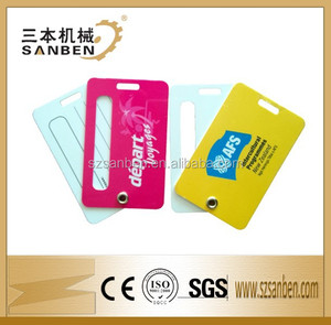 Full color print hard plastic luggage tag, eco-friendly PVC luggage tag comply with US standards